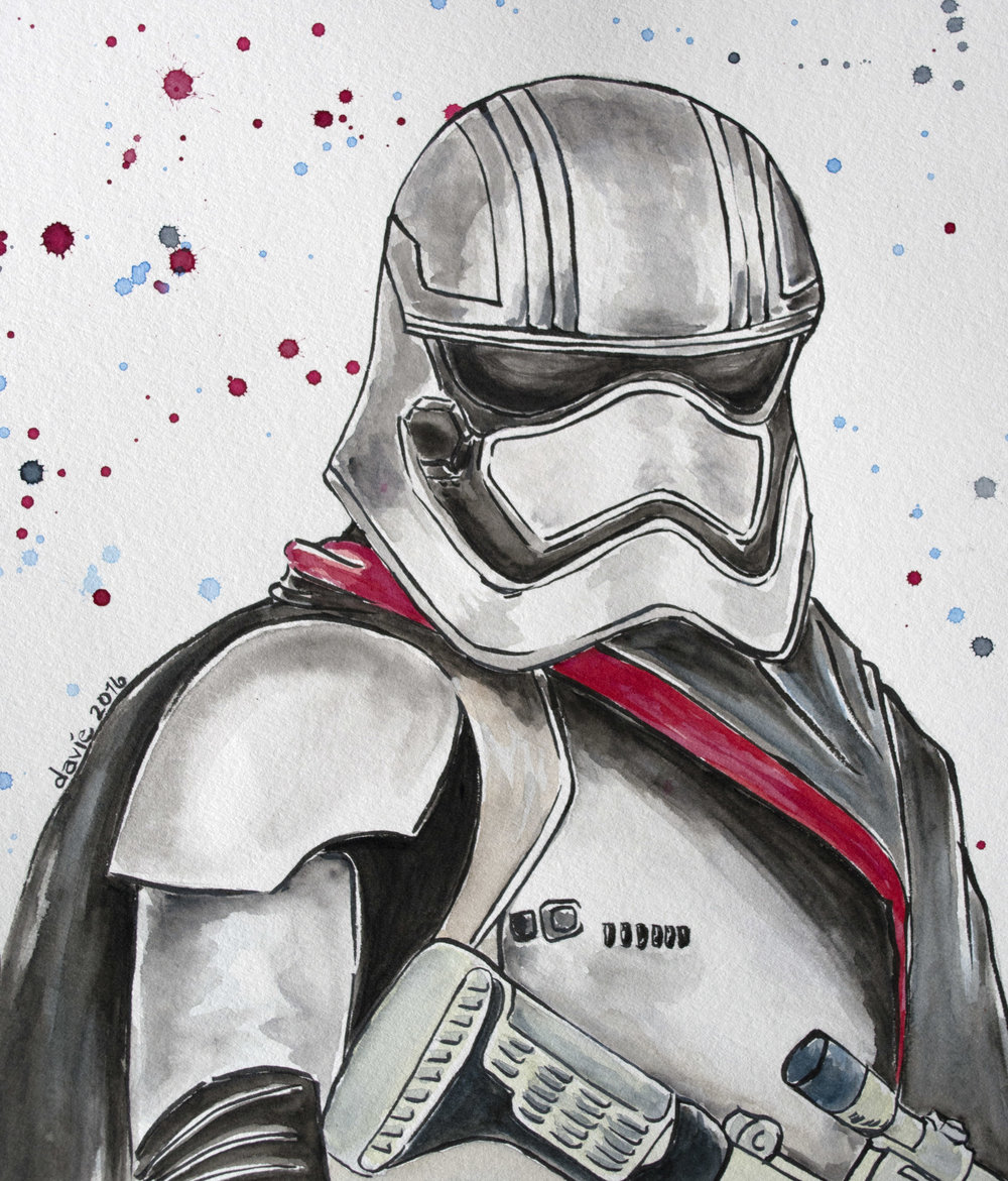 Star Wars: Captain Phasma Watercolour on Strathmore 400 series watercolour paper.