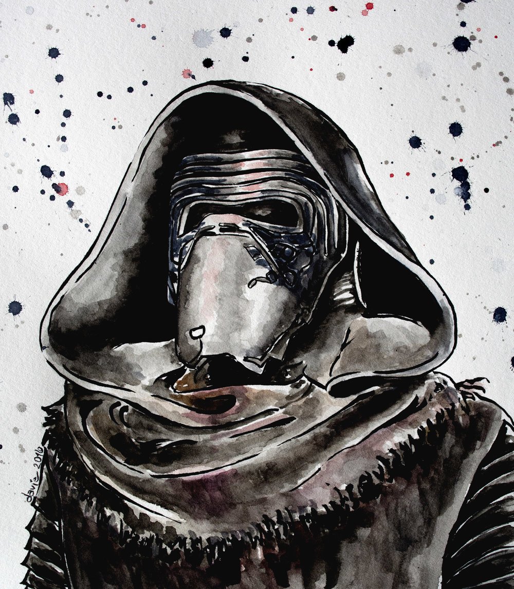 Star Wars: Kylo Ren Watercolour on Strathmore 400 series watercolour paper.