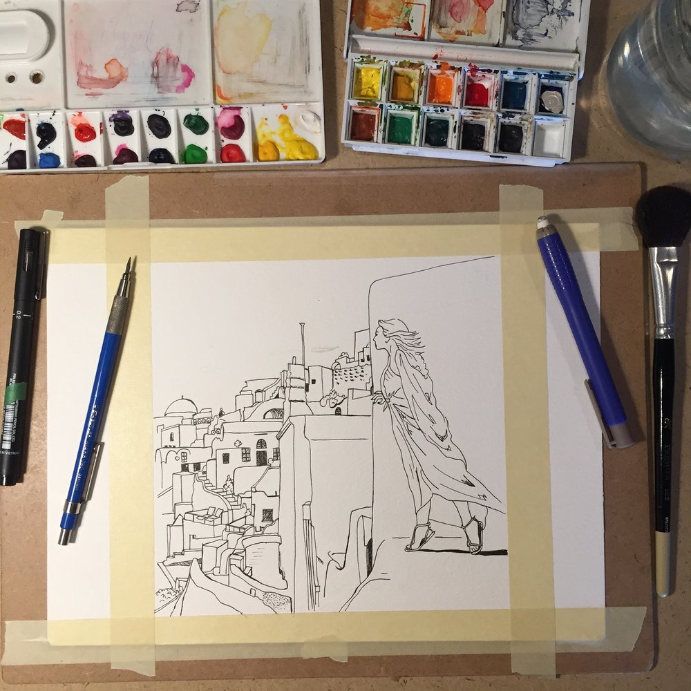 """Santorini Memories"" commission: behind-the-scenes process usually starts with laying down the line art."