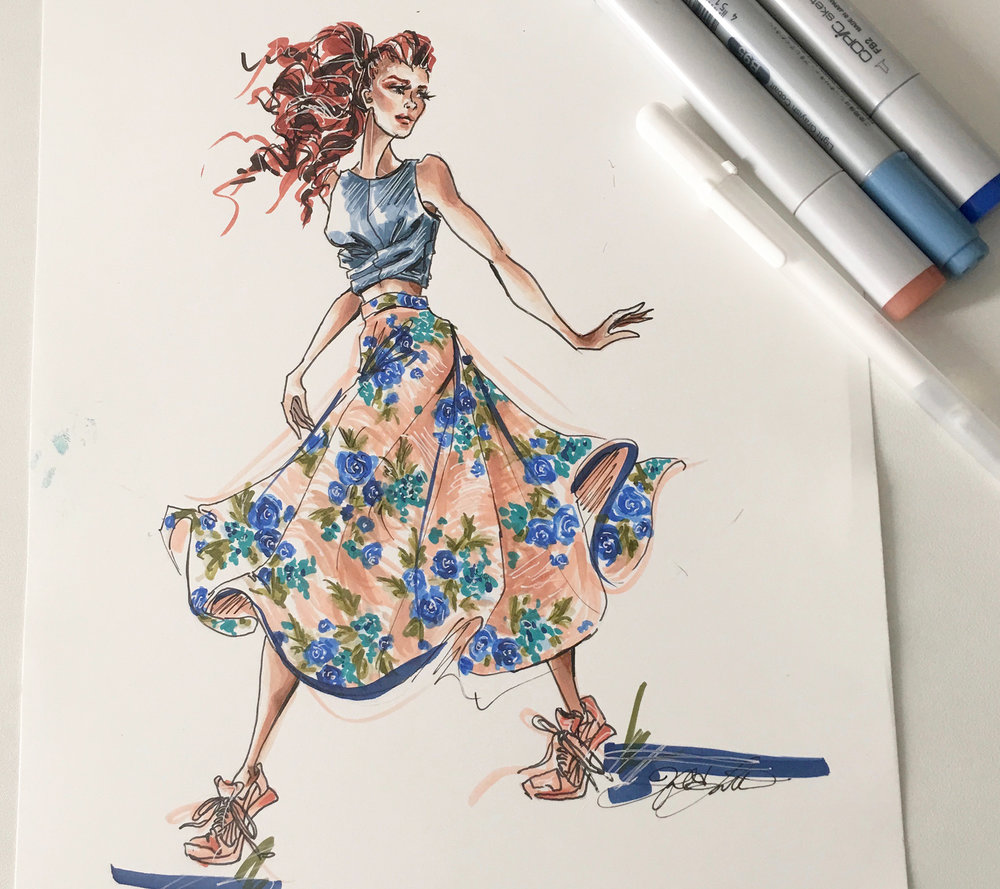 Lively illustration of the vintage circle skirt. Illustration and photo courtesy MelEesa Lorett. For more on her work, click   here  .