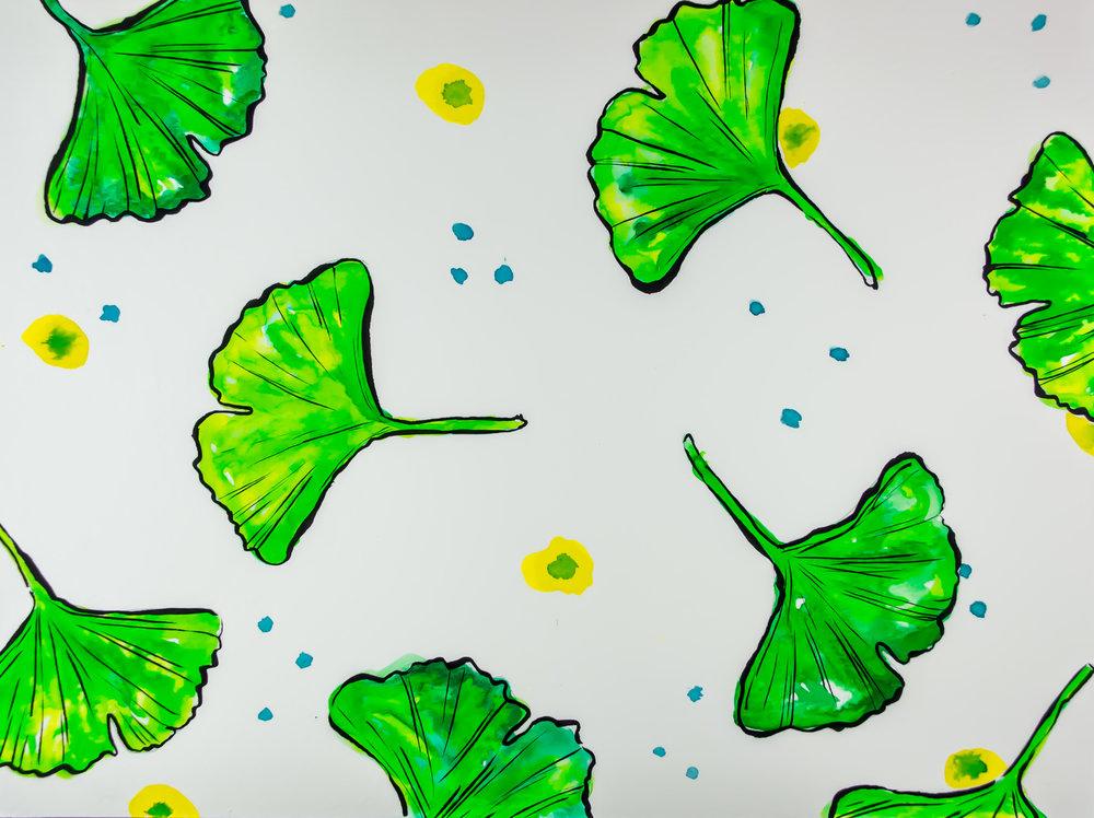 Hyper Colour Gingko Leaves