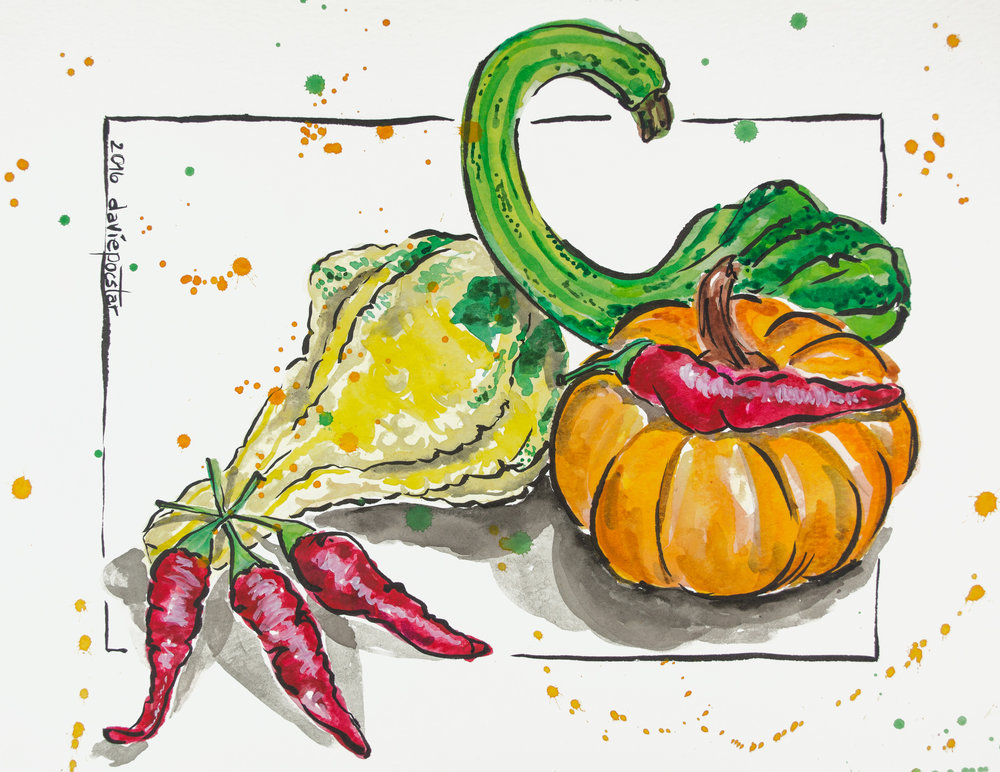 Autumn Gourds with Chilli Peppers