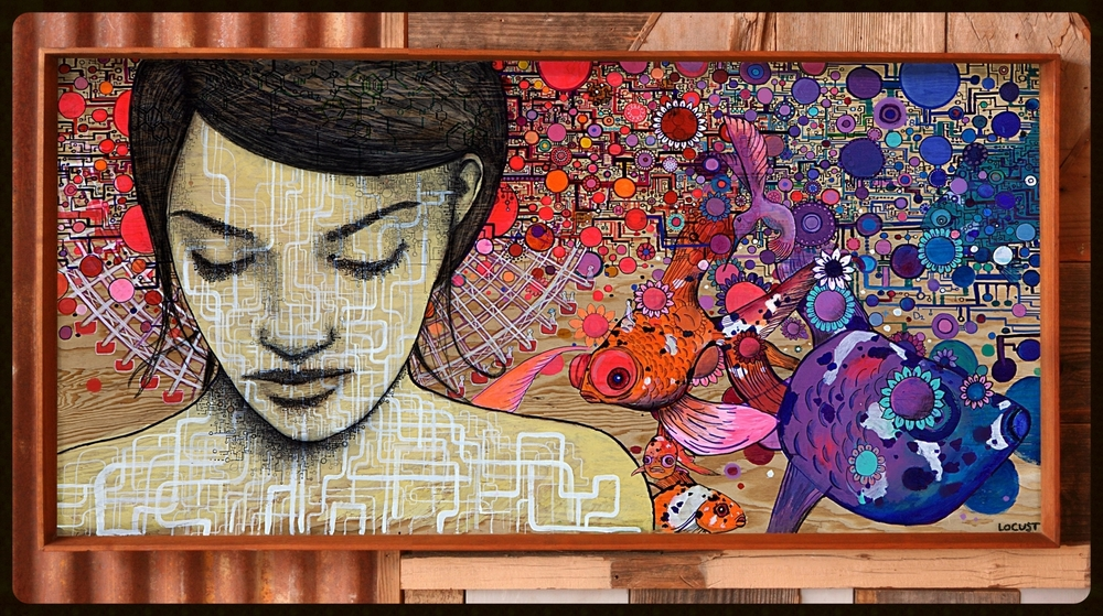 'Lightning in a Bottle' ink and marker on wood 2012