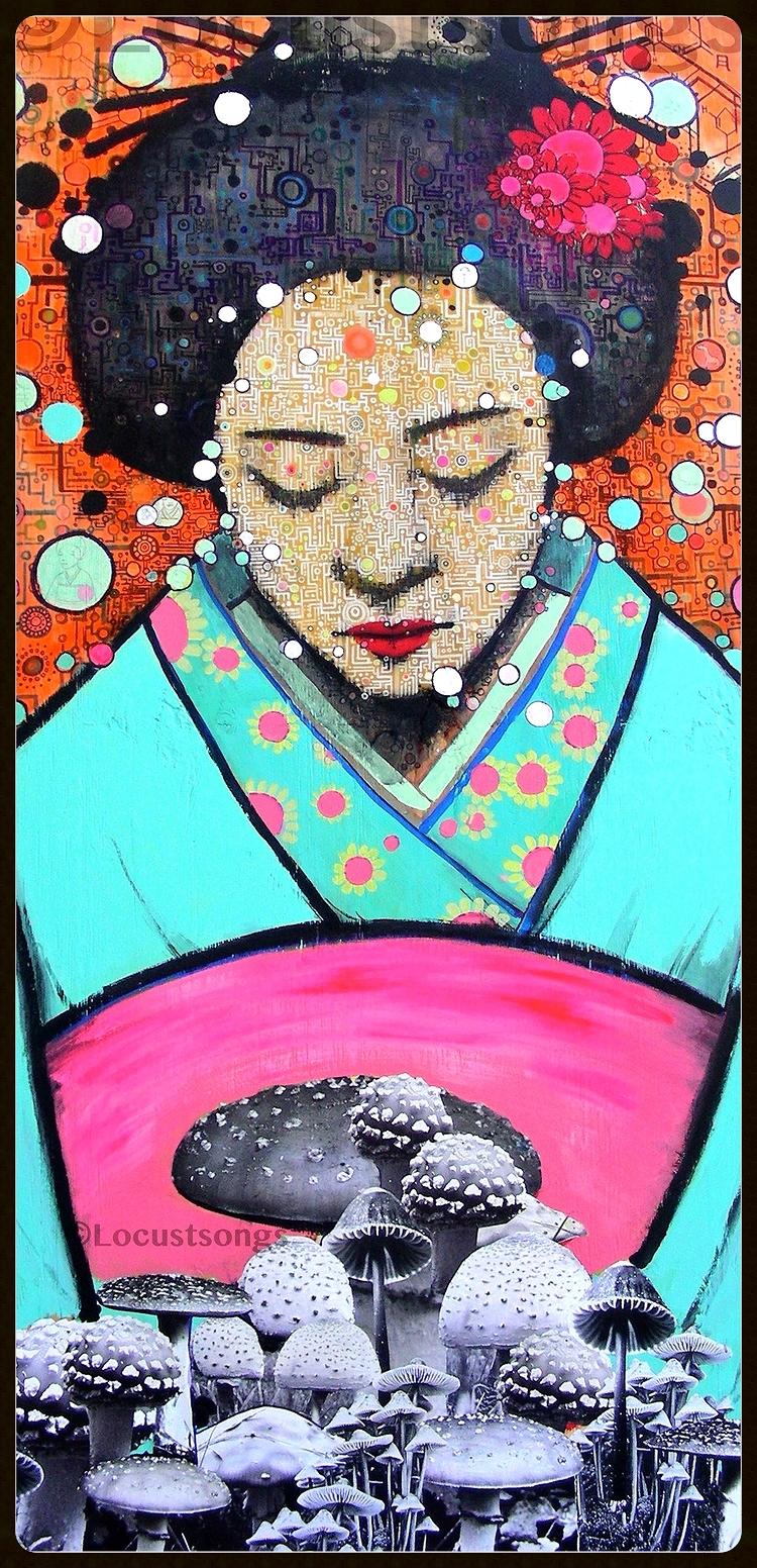 Geisha Girl in the Mushroom Forest