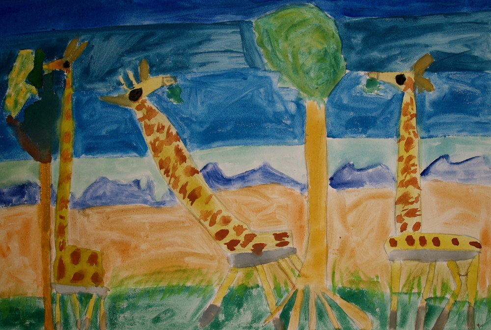 GIRAFES, WATERCOLOUR ON CANVAS, 70 X 60CM