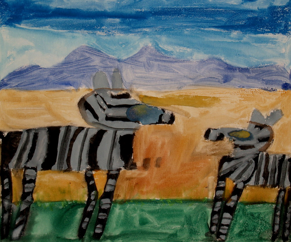 ZEBRAS, WATERCOLOUR ON CANVAS, 50 X 60CM