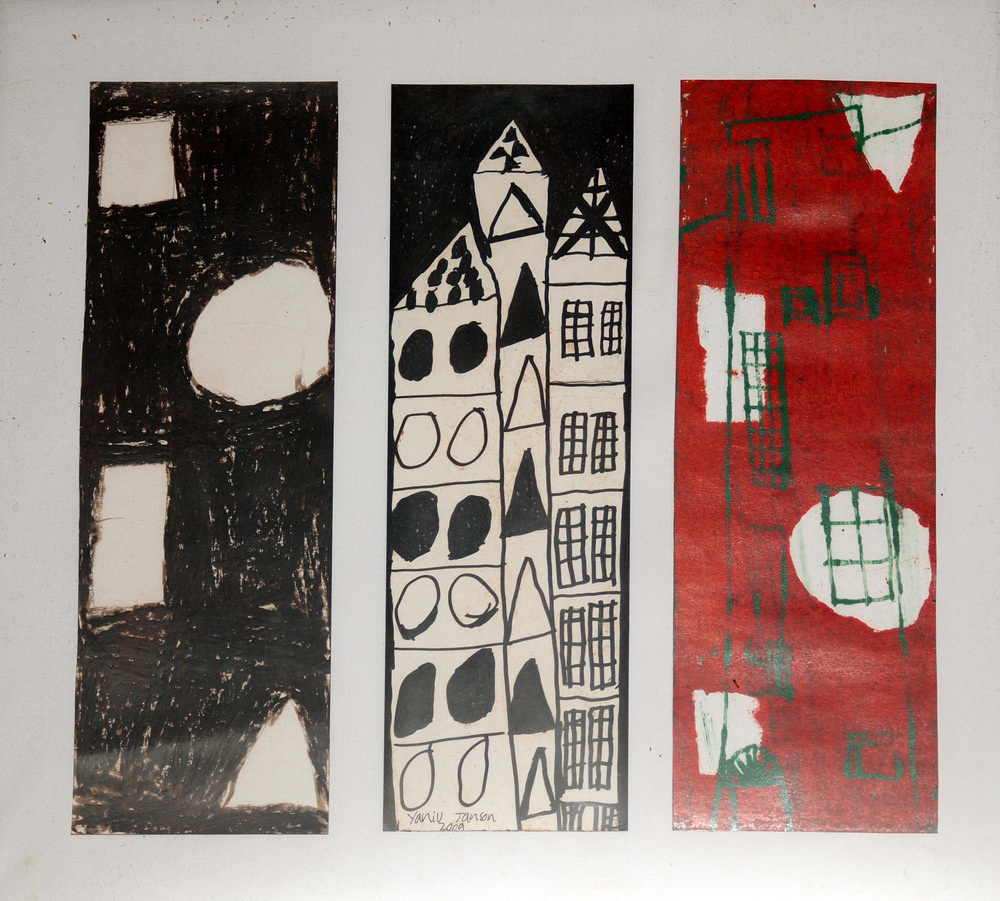 3 HOUSES, MONOPRINTS ON PAPER, 51 X 55CM FRAMED
