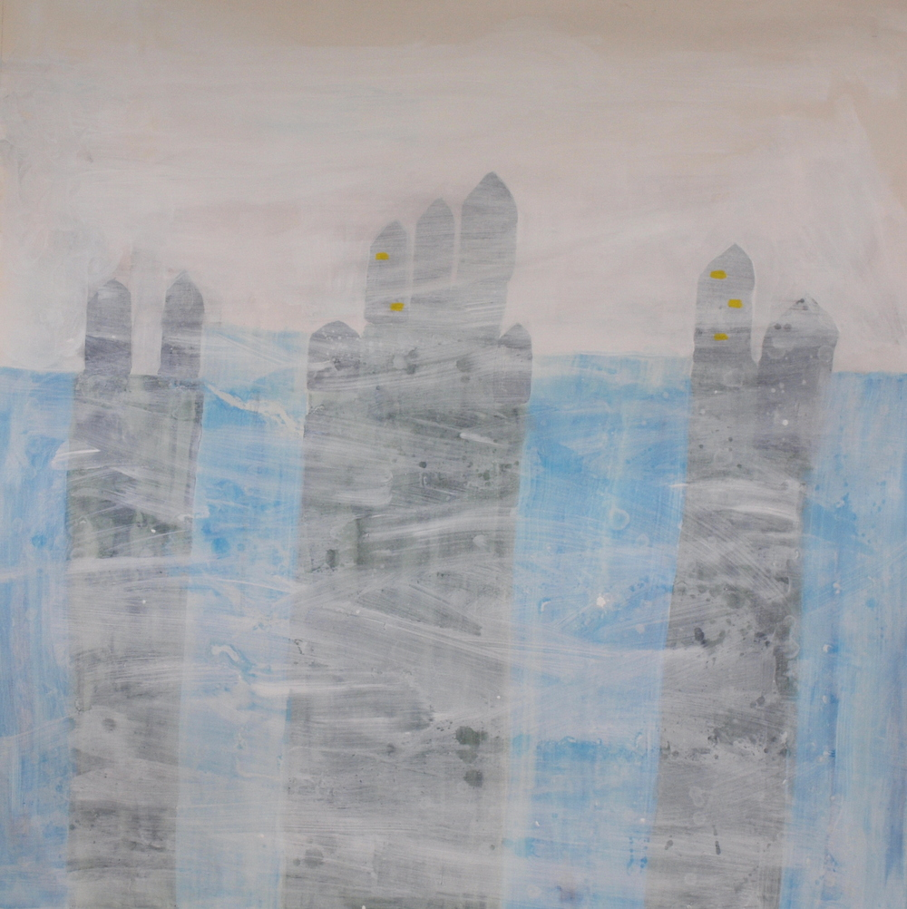 LAST FEW BUILDINGS TO EVEN BE SEEN, ACRYLIC  ON CANVAS, 122 X 122CM