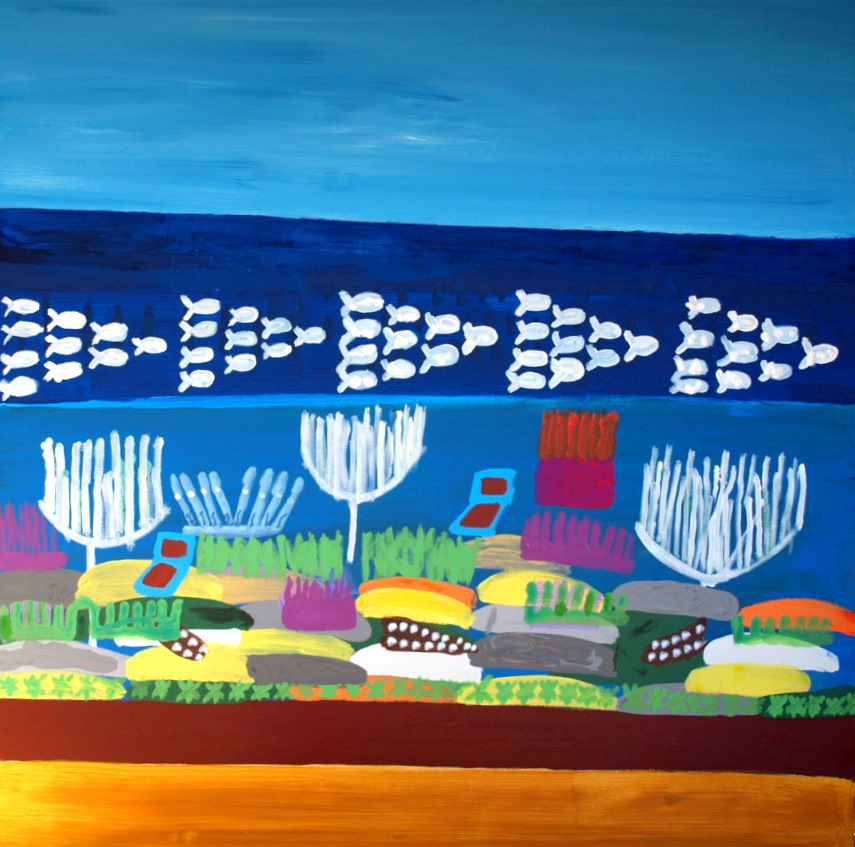 SEA FISH FRAGILE ECOSYSTEMS, ACRYLIC ON CANVAS, RIGHT TRIPTYCH