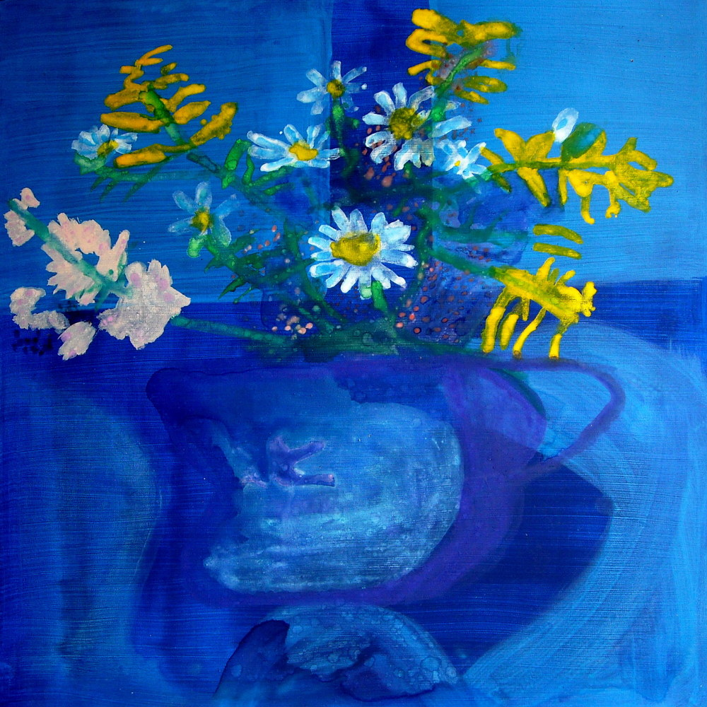SENSATIONAL FLOWERS, ACRYLIC ON CANVAS, 90 X 90CM