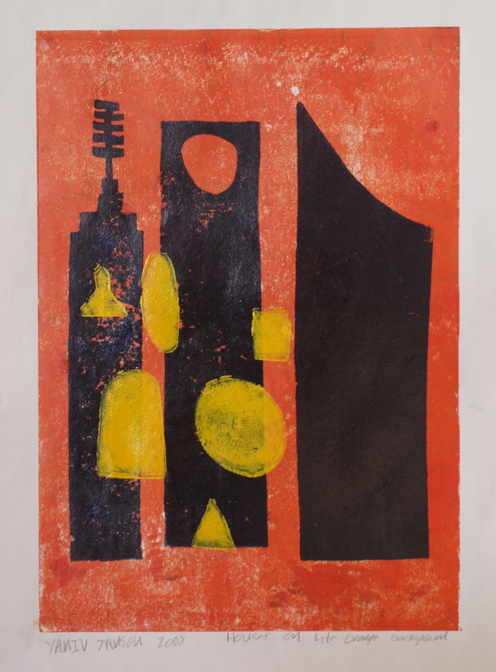 HOUSES ON LIGHT ORANGE BACKGROUND, MONOPRINT, 30 X42CM