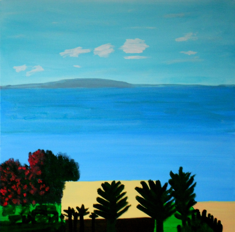 ON RANGITOTO ISLAND, ACRYLIC ON CANVAS, 76 X 76CM