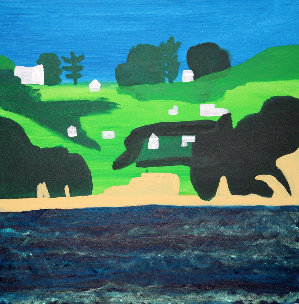 RAKINO ISLAND, ACRYLIC ON CANVAS, 76 X 76CM