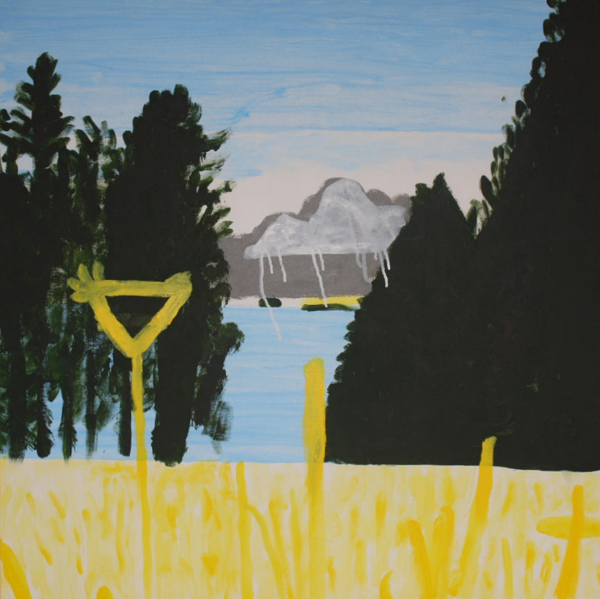 SOUTH ISLAND LAKE TEKAPO, ACRYLIC ON CANVAS, 76 X 76CM