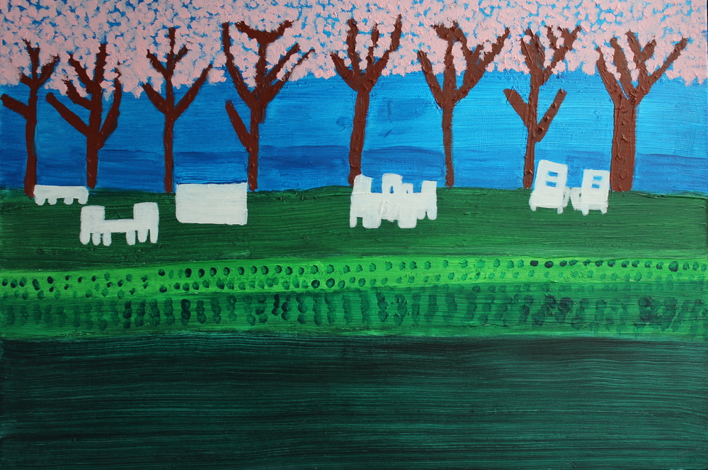 SPRING AT THE LAKE, ACRYLIC ON CANVAS, 91 X 61CM