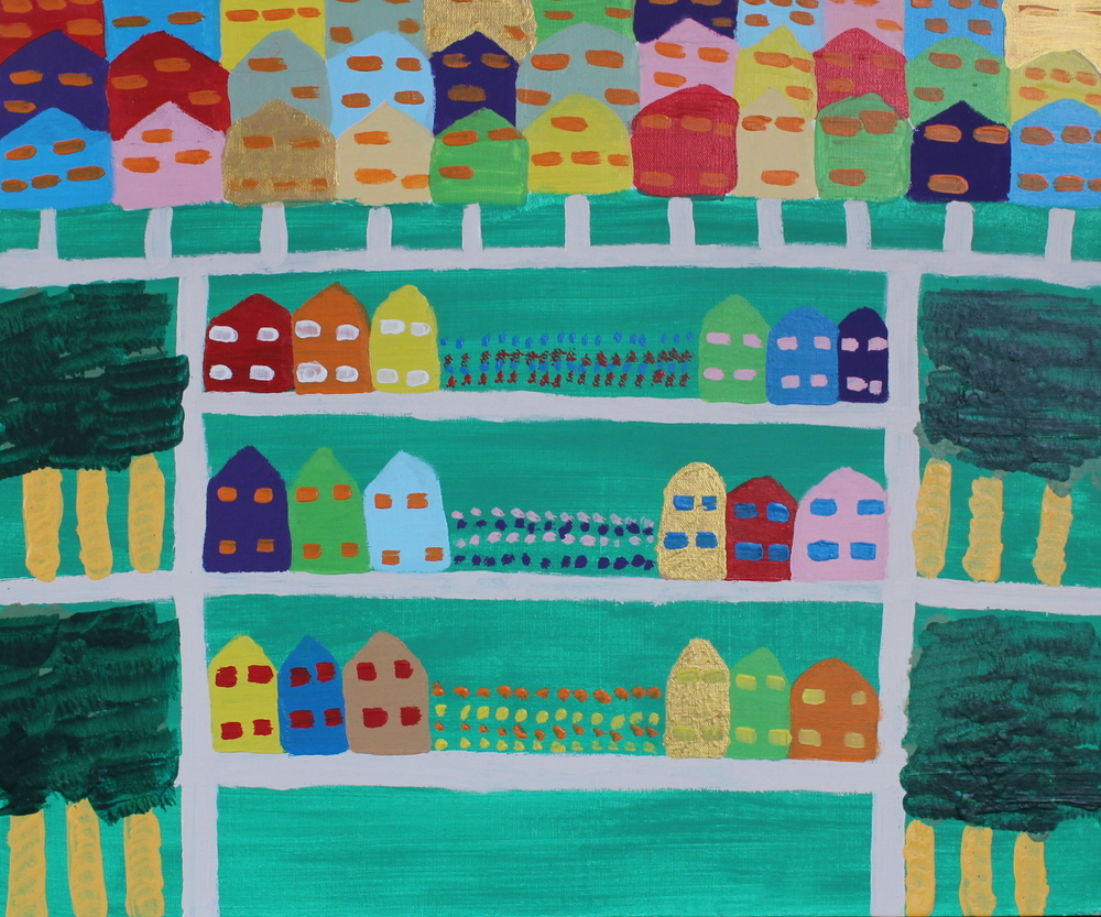 RICH AND POOR HOUSES, ACRYLIC ON CANVAS, 76 X 56CM