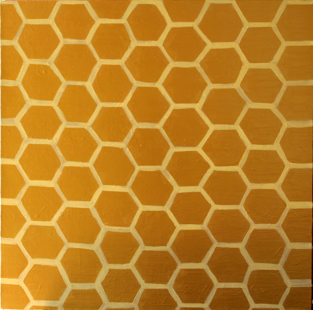GOLD HONEYCOMBS, ACRYLIC ON CANVAS, 76 X 76CM