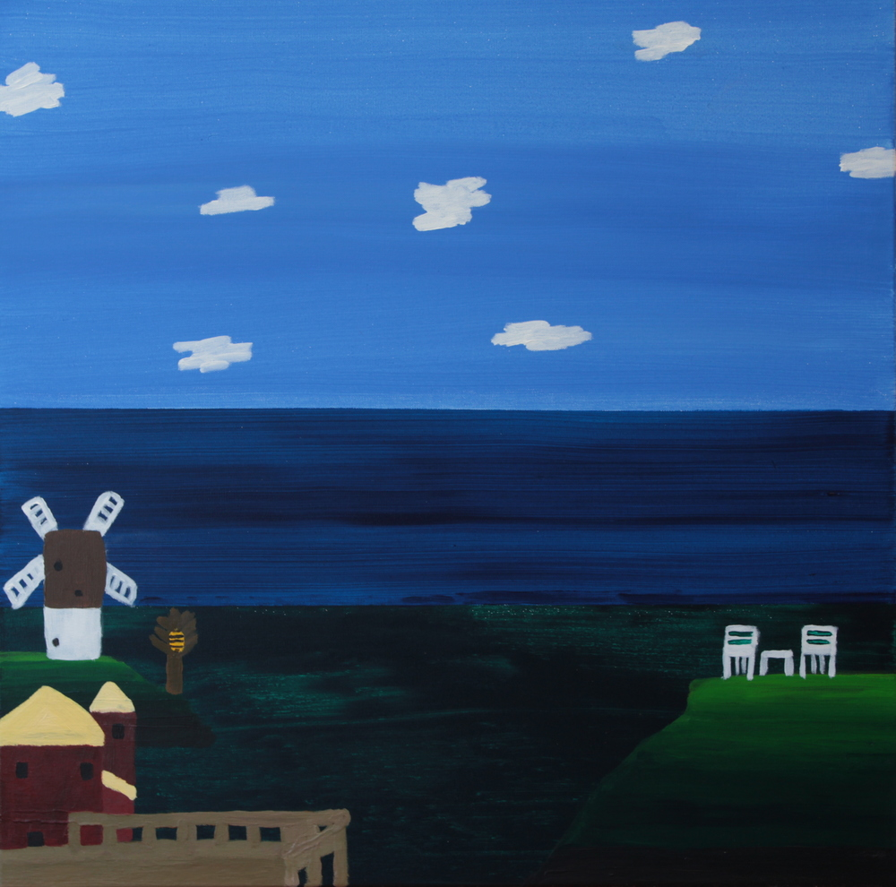 BEEHIVE BESIDE WINDMILL, ACRYLIC ON CANVAS, 76 X 76CM