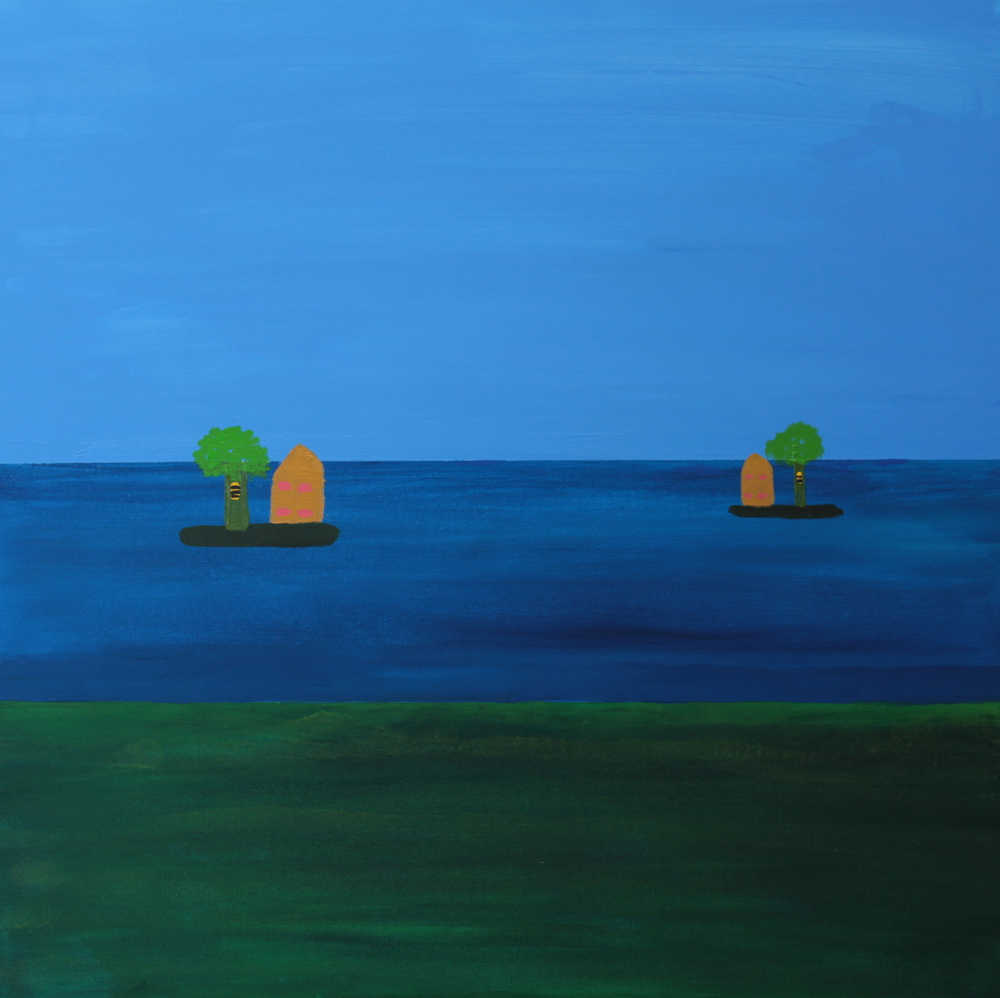 BEEHIVES ON ISLANDS, ACRYLIC ON CANVAS, 76 X 76CM