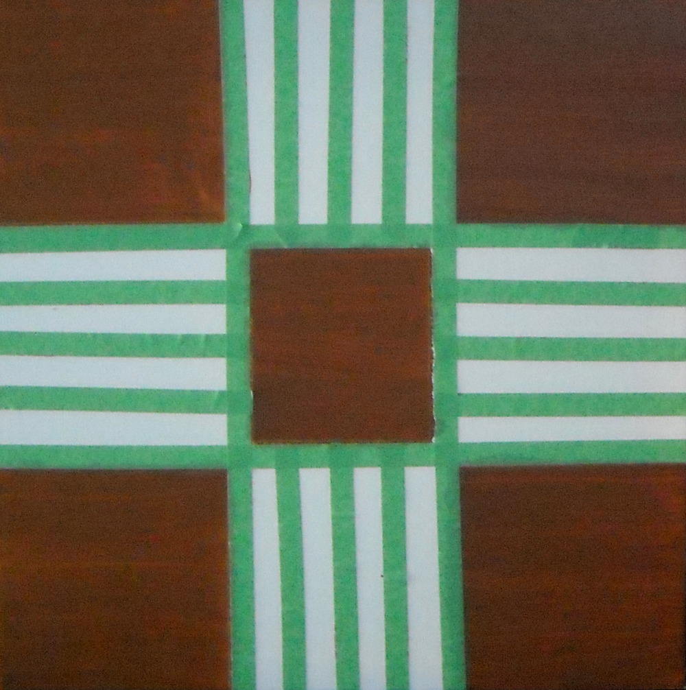 A SQUARE GAME 2, ACRYLIC ON CANVAS AND GREEN PAINT, 51 X 51CM
