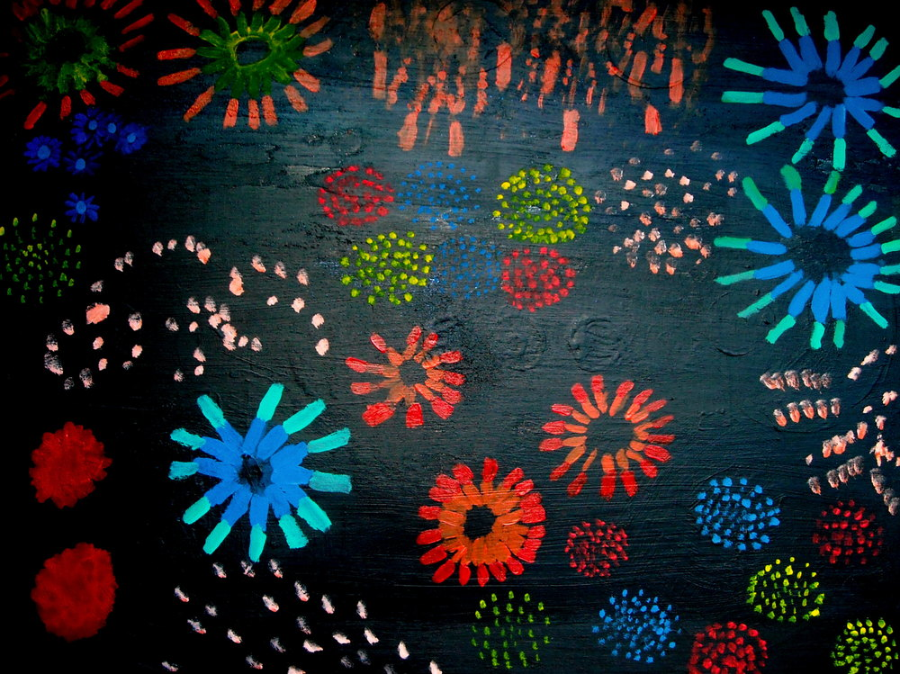 FIREWORKS, ACRYLIC ON CANVAS, 122 X 91CM