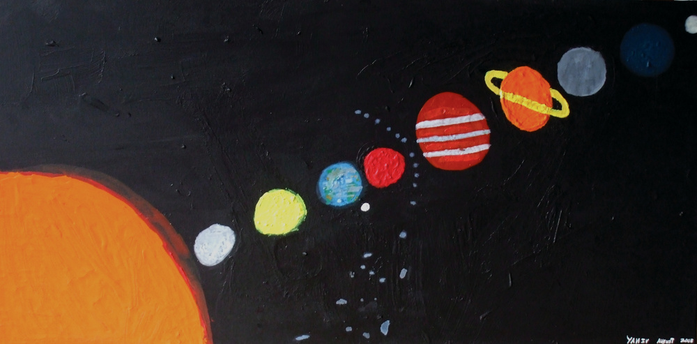 LIFE THE UNIVERSE AND EVERYTHING ELSE, ACRYLIC ON CANVAS, 90 X 60CM