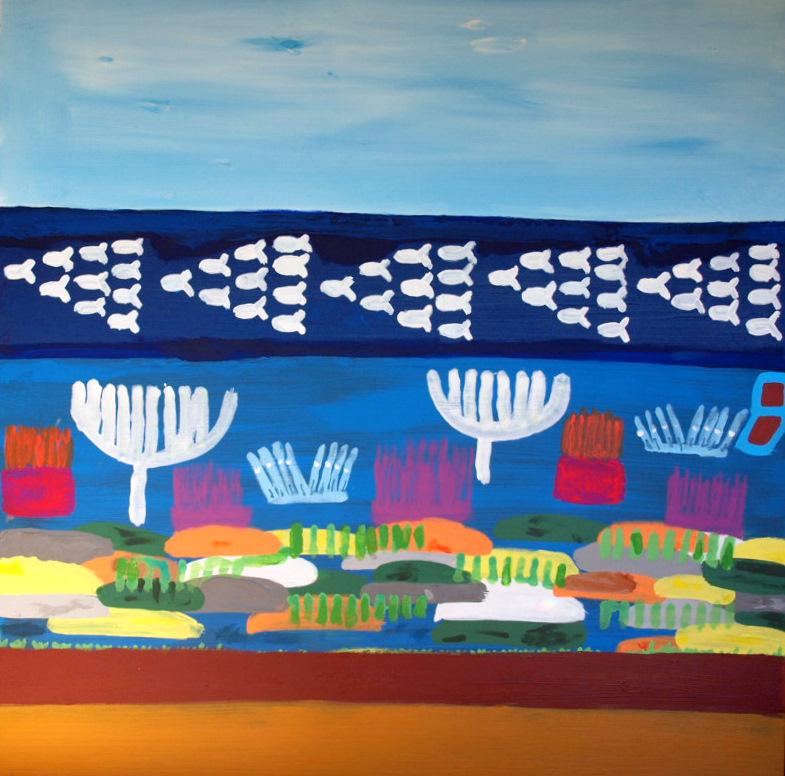 Sea fish Fragile Ecosystems LEFT TRIPTYCH Acrylic on canvas TOTAL TRIPTYCH DIMENSION 267 X 92 cm Yaniv Janson.JPG