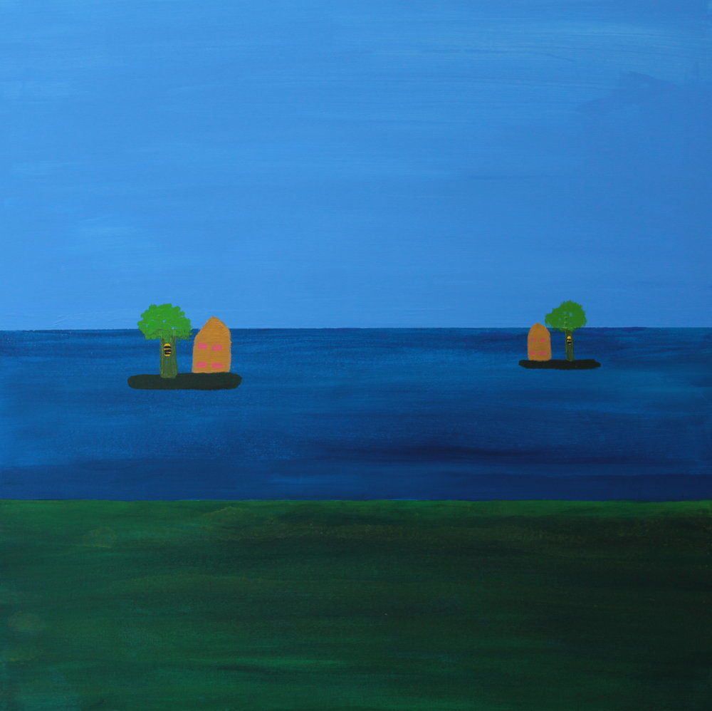 12 2014 Beehives on Islands Acrylic on Canvas 76 X 76cm Yaniv Janson.JPG