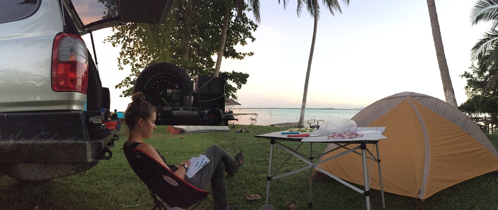 And now, back to Ash, Liv, and El Chapulín. Here we are camping on the shore of beautiful Laguna Bacalar, one of our favorite campgrounds so far.