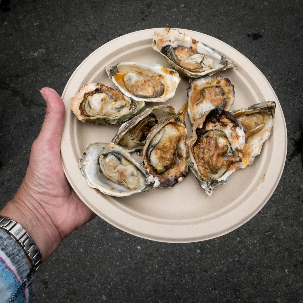Hog Island Oysters – Sizzling Grilled Bourbon BBQ.