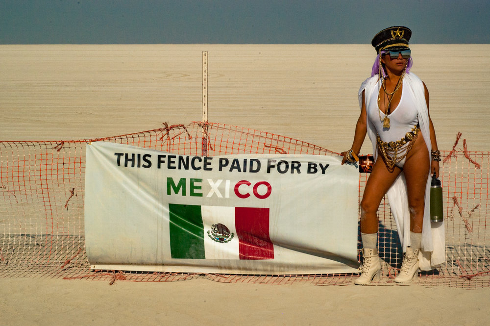 "Someone, but not me,, at the Burning Man event boundary, A.K.A the ""Trash Fence"""