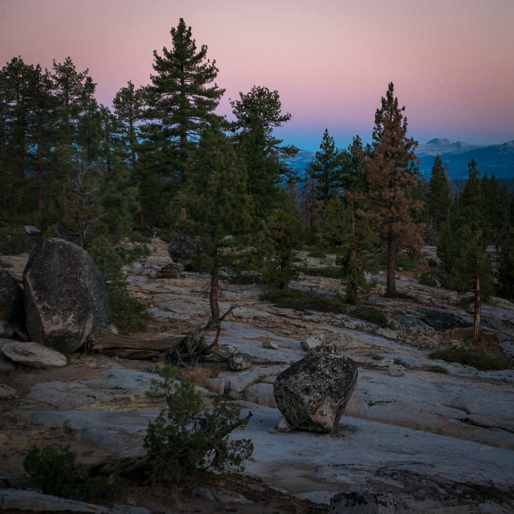 The changing morning light in the Ansel Addams Wilderness.