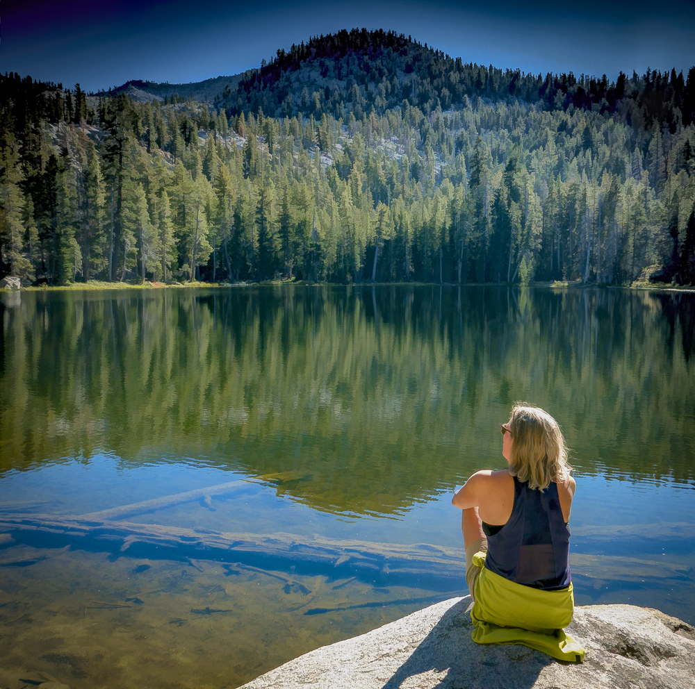 Mount Givens and me at Corbett Lake, John Muir Wilderness