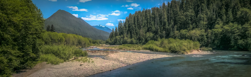 The view upstream with a peek of the peaks of the Olympic National Park backcountry.