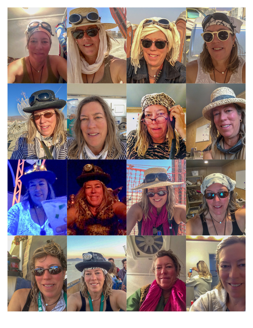 A Selfie a Day at Burning Man 2018. Selfie lessons… not all success, not all failures.