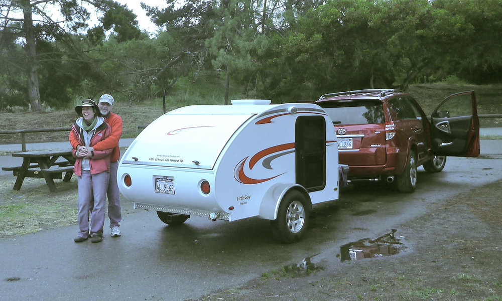 Our first outing with Eggburt, a rainy Pismo Beach, 2011.