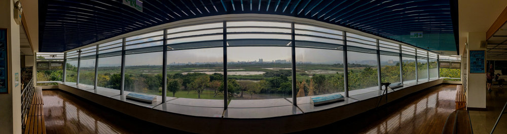 A panoramic view of Taiwanese wetlands from the Guandu Nature Park Visitor Center.
