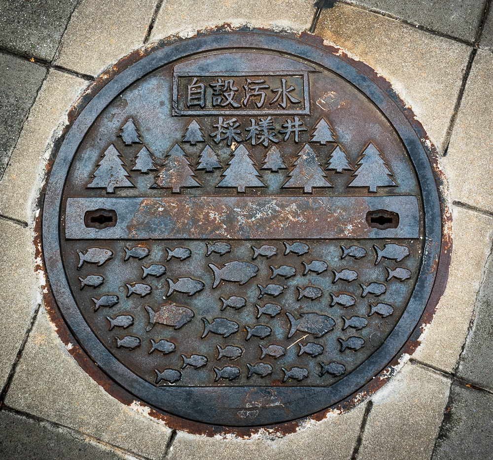 Manhole covers all over Taipei remind people that the water under foot is used by wildlife.