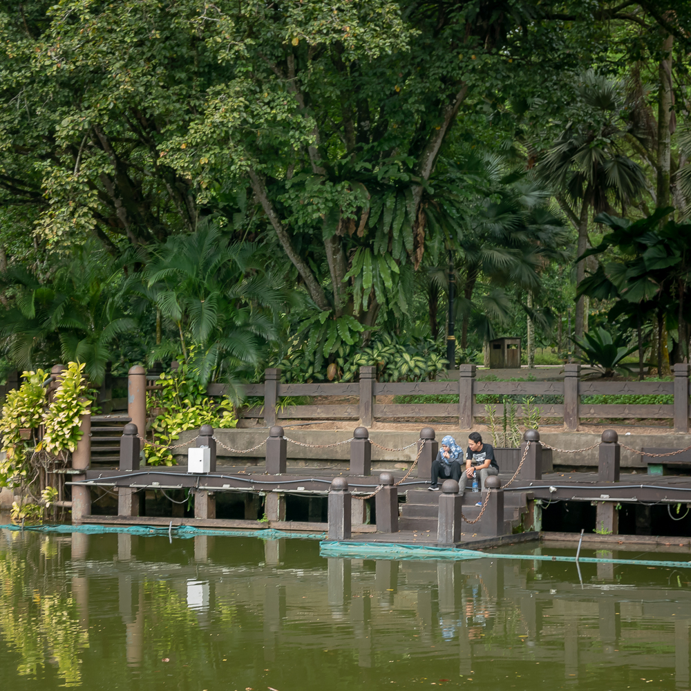 A couple having a personal moment in the KL Botanical Garden.