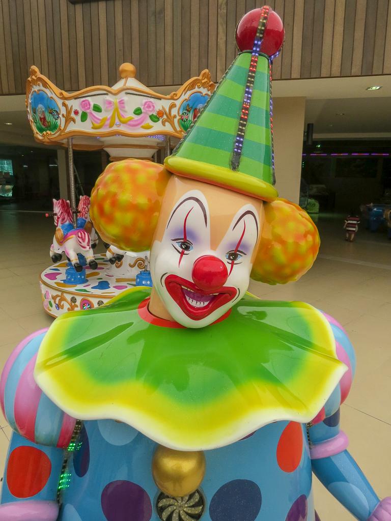 """A """"Steven King IT"""" clown in the hotel lobby."""