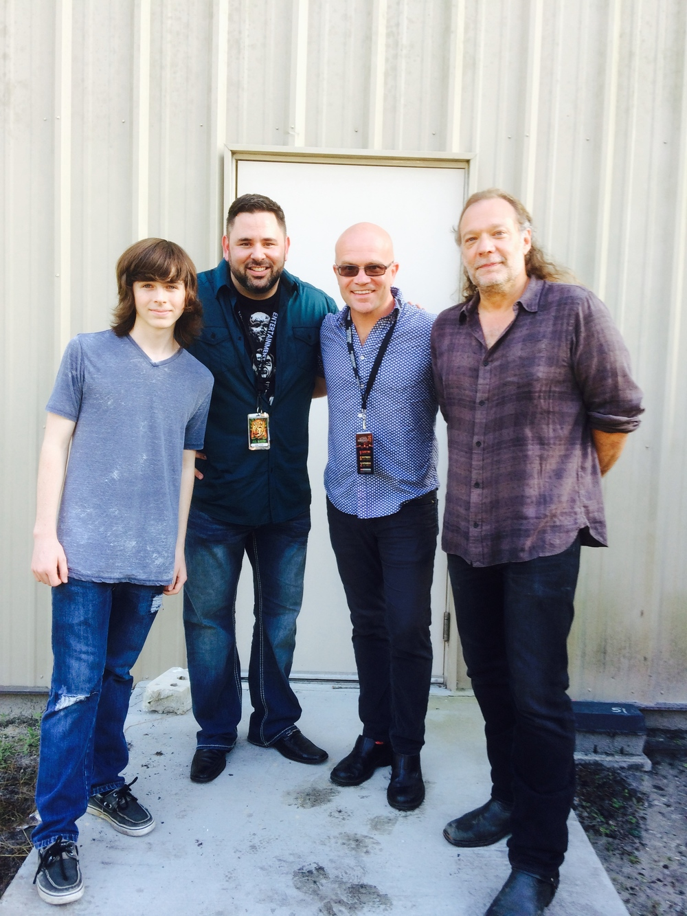 Left to right: Chandler Riggs, Mike Aiello, Jon Waterhouse and Greg Nicotero.