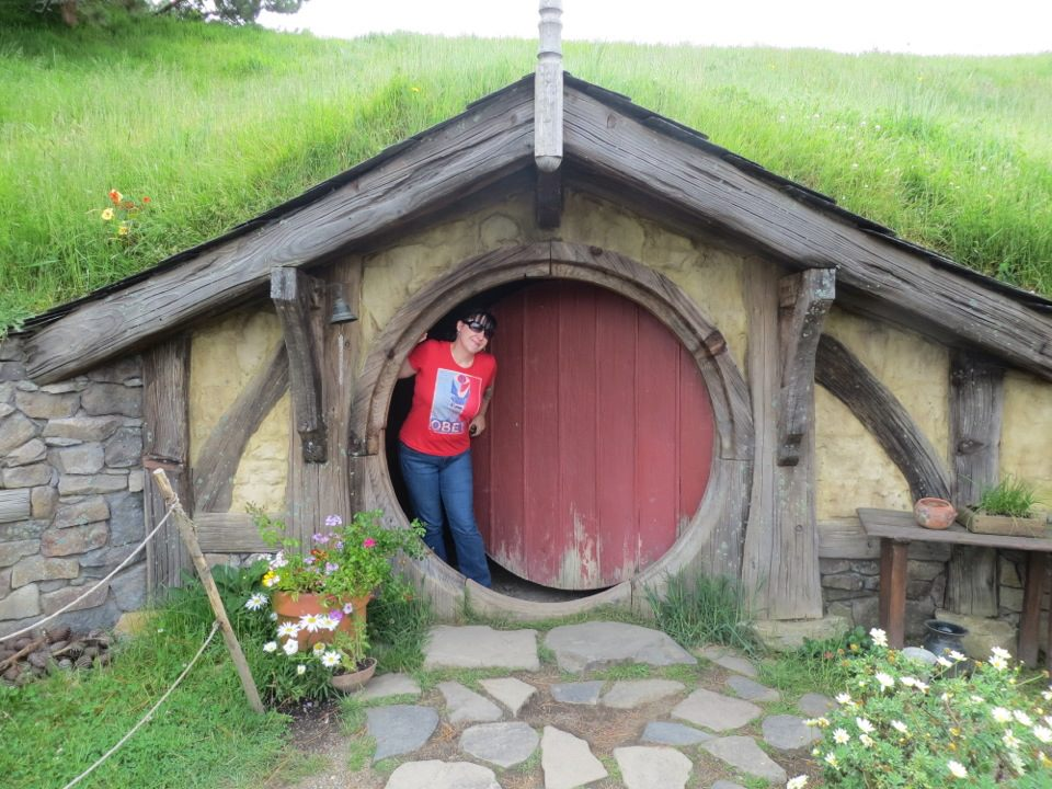 Rebecca Perry of Atlanta, GA visits Hobbiton near Matamata, New Zealand.