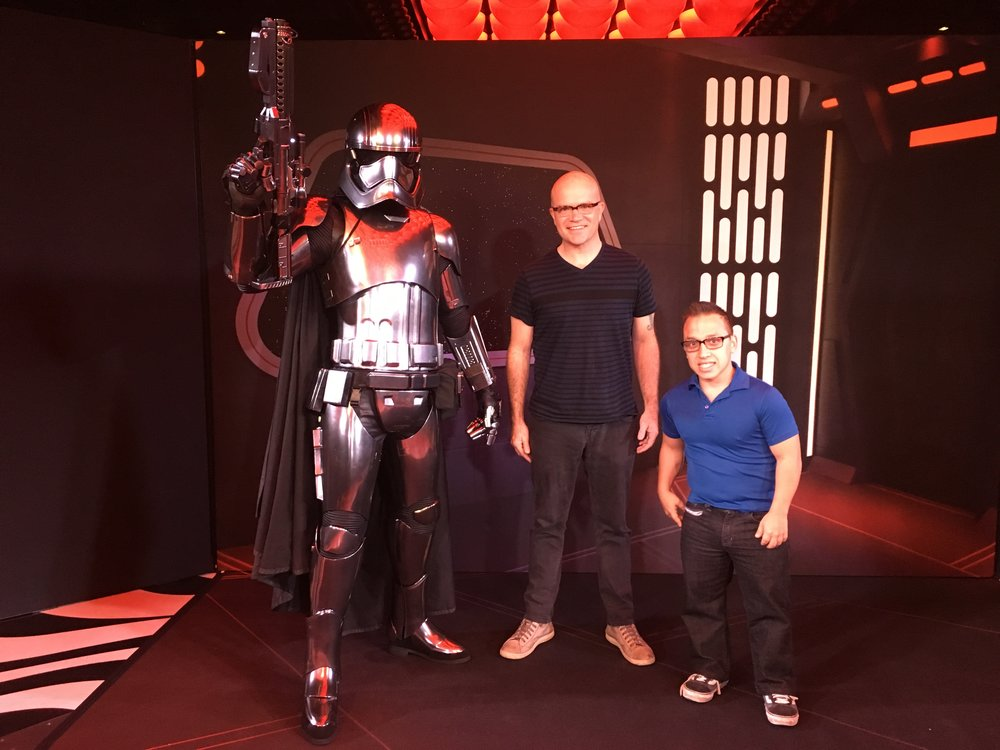 Hanging with my son, Max (right), and Captain Phasma on the Disney Dream cruise ship for Star Wars Day at Sea.