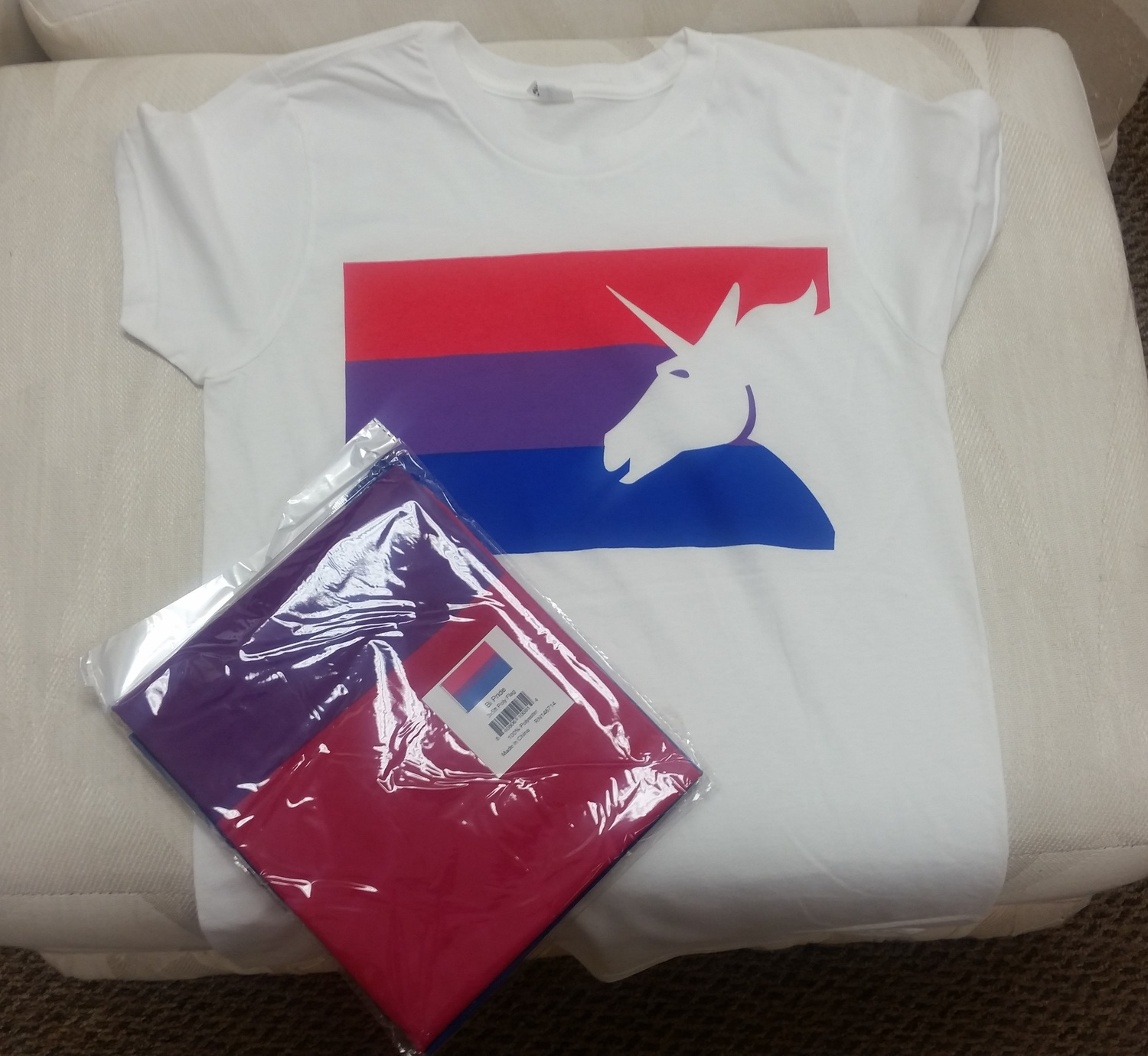 4d6cee11245 Today I shipped off a bisexual pride unicorn shirt and a bisexual pride flag  to a woman who bought them for her husband. Now I'm not sure if she is bi,  ...