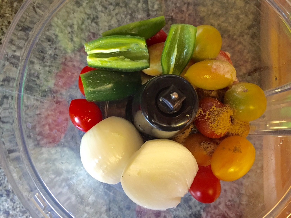 Toss ingredients in the food processor and blend.