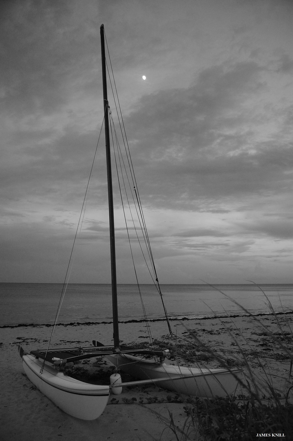 Hobie Boat and Moon Black and White