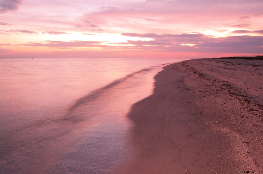 Pink Oceanscape and Sand Horizontal