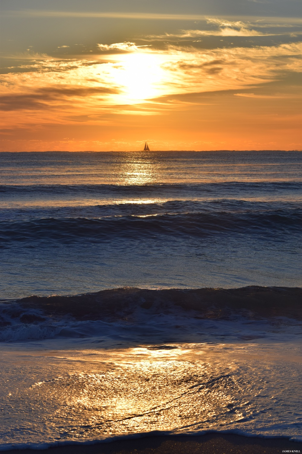 Sunrise, Sailboat and Waves Vertical