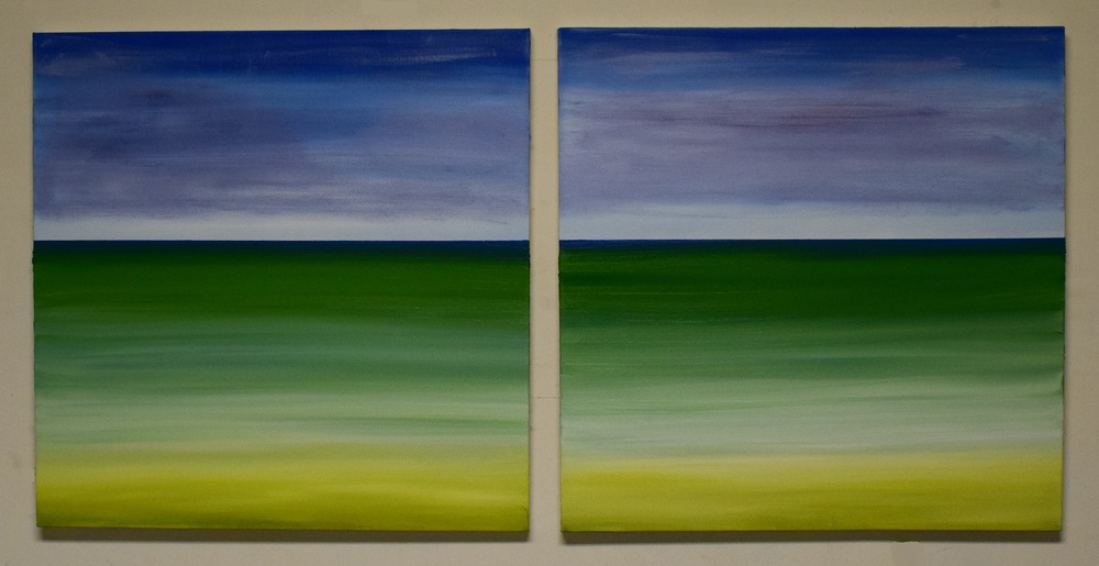 """Beach Diptych"", oil on canvas. Each canvas measures 24""x24"", AVAILABLE"