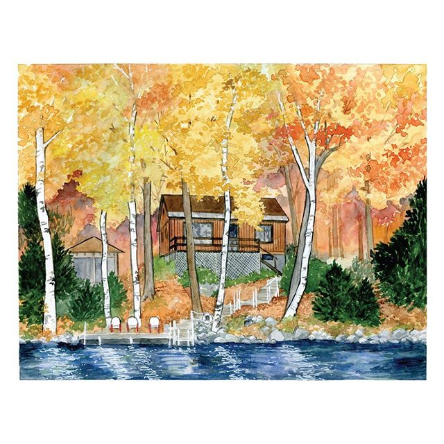 When I was little I adored Bill Watterson's watercolors of the fall foliage in the Calvin & Hobbes books, so it was super fun to have an opportunity to watercolor a whole forest around the lake house in this portrait 😁